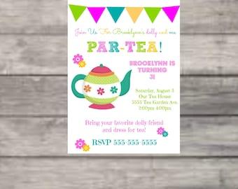 Partea, Tea Party, Pink, Green, Turquoise, Dolly, Tea, Birthday, Girl Birthday, Birthday Invitation, Digital Print