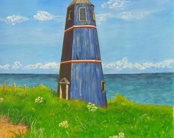 The Blue Tower - Acrylic on Canvas Paper. 42cm x 30cm - Original by Evelyn Feltoe