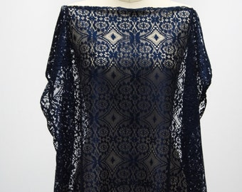 Dark Blue Lace Dot Cover Up