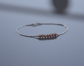 Bracelet and minimalist silver necklace 925 - champagne glass beads