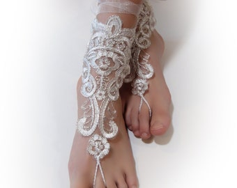 Ivory Silver Lace Barefoot Sandals. Foot Jewelry. Anklets. Ivory Embroidered Organza. Beach Wedding Accessory for Women. A pair. 2 pcs.