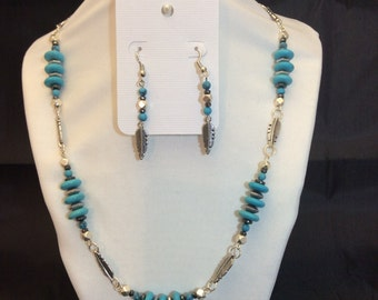 Necklace and Earrings:  Turquoise and Silver Feathers