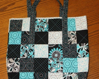 Turquoise and Black Tote Bag
