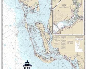 Nautical Chart Art - Boca Grande, Sanibel, Gulf of Mexico, Florida, Charlotte Harbor, Captiva - Navigational Chart Print with watercolor