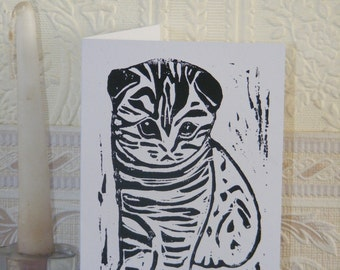 Kitten lino print card