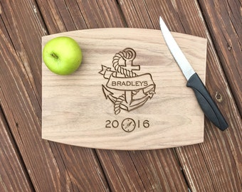 Anchor Cutting Board, Wedding Gift, Personalized Cutting Board, Gift Idea For Couple, Wedding Shower Gifts, Wedding Gifts for Couple, Wood