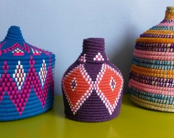 Berber woven hand-wool and raffia basket