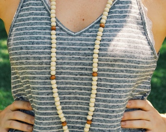 Stone and Wooden Bead Long Wrap Necklace