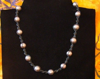 Sale! Faux Pearl and Leather Necklace