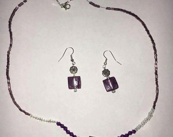 Purple and clear beaded necklace and Earrings