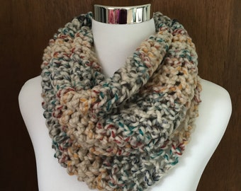 Multi-Colored Knitted Infinity Cowl Scarf