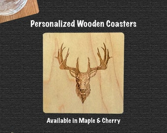 Wooden Coaster With Whitetail Deer   Set of 4   Includes Bump Ons  