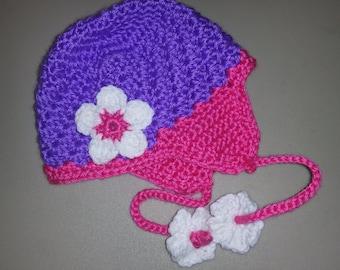 Handmade Crochet Baby Beanie with Earflaps
