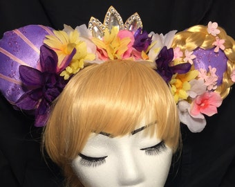 Rapunzel Inspired Cosplay Mouse Ears with Flower Crown