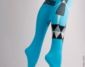 Hand-painted Tights, High Fashion, Stockings, Pantyhose, Unique Women Tights, Fashion Brand, Style, Geometrysm collection,Abstract,Blue,Girl