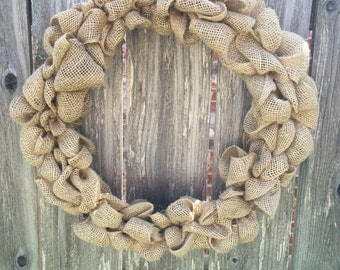 Burlap wreath in natural