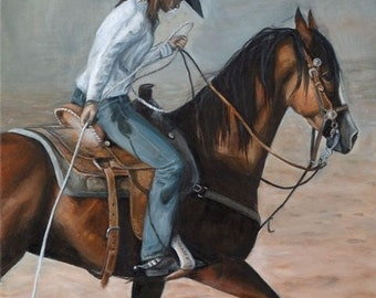 Blue Cowgirl-  western theme, original painting, equine art, horse painting
