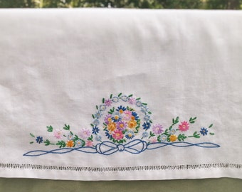 """Linen Dresser Scarf or Table Runner w/Hemstiched Edges and Multi-Color Hand Embroidered Floral Medallions, 40""""L x 19""""D"""