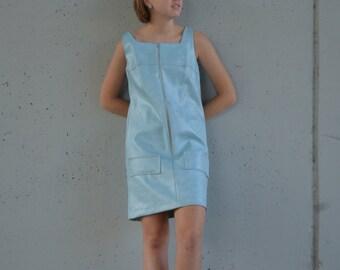 1960s faux leather dress   blue mod dress   mod fashion   size s