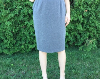Vintage 80s Pret A Porter Suits Grey Pencil Skirt Size 14