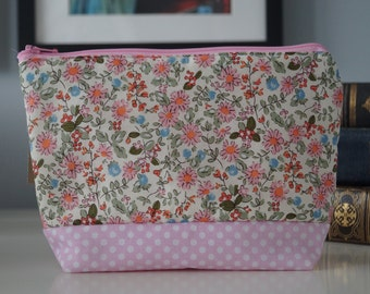 Pink Makeup Bag, Cosmetic Bag, Two Tone bag, Ladies Gift Idea - Pink Floral and Polka Dot WallFlower Design