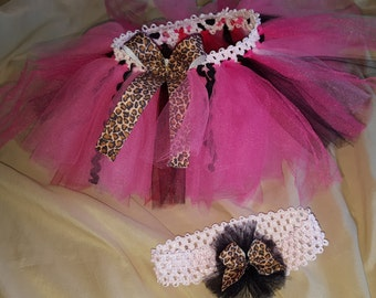 cheetah tutu skirt & headband. Perfect for a birthday party or for a photo prop.