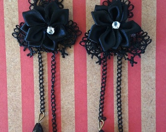 Goth Black Lace Earrings