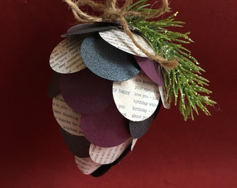 Paper Pinecone Ornament - Handmade