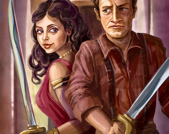 Firefly: Inara Serra and Captain Tightpants (Nathan Fillion and Morena Baccarin portrait)