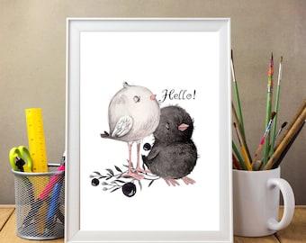 Baby room decor - watercolor chicks. baby gift, Chick art print, nursery decor, handmade gifts, kids art print, kids wall art, room decor