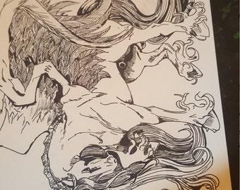 unicorn pegasus ink drawing