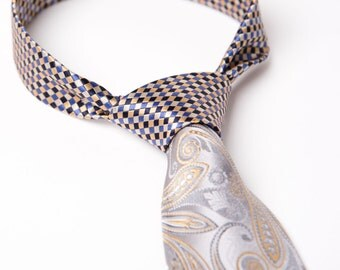 Mens Contrast Knot Necktie Yellow Blue Silver Tan Tie