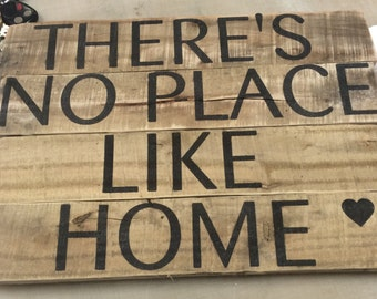 There's no place like home Home Decor/ Rustic Sign/ Reclaimed Wood/ Pallet Wood/ Repurposed Wood/ Rustic Wood Sign/ Inspirational Art
