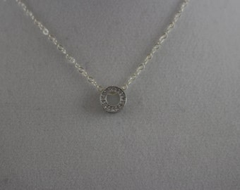 20% Off CZ Sterling Silver Circle Charm Necklace BP4013