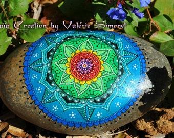 Roller hand - painted blue-green Mandala / Hand painted pebble - blue and green mandala
