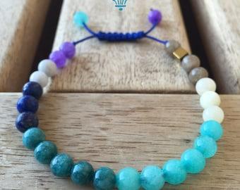 "Band ""Pioggiamare"" with blue lapis beads, jade, quartz blue and Golden cube Hematite, handmade-made in Italy"