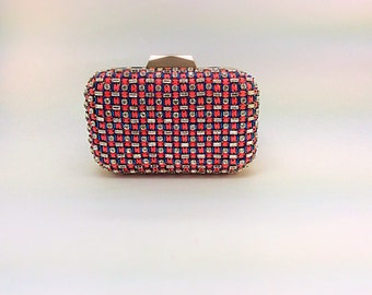 Red and blue crystal bag, beaded clutch,embroidery clutch,classic clutch,party clutch,Crystal clutch,prom,gift, embellished clutch,