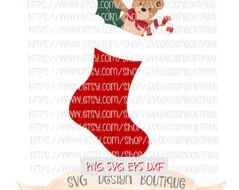 Christmas Stocking Svg, Merry Christmas SVG, Glitter Svg, Teddy Bear Svg, Christmas Svg, Svg Design, DXF, Holiday Svg, Svg Font Files