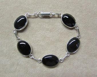 Classic Black Onyx STERLING silver 5-stone bracelet.