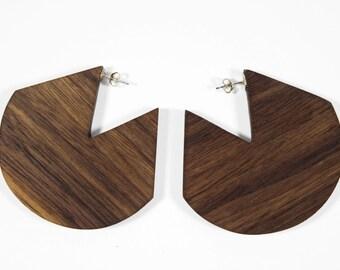 Geometric Walnut Earrings