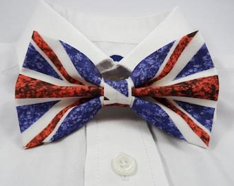 Vintage UK Flag Bow Tie, Flowery UK Flag Bowtie