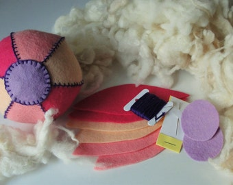 Felt ball sewing kit - pink, peach and purple