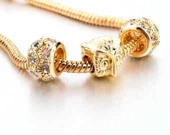 Gold Tootsie Charm Link Gold Plated Bracelet Three Charms