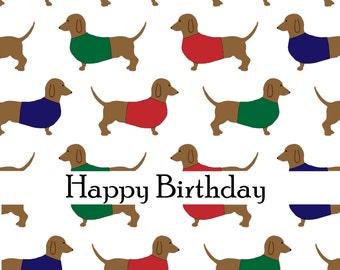 Sausage dog Dachshund doggy jumper birthday card