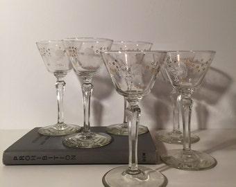 1950s Rooster Cordial Glasses- Vintage Drunken Rooster-Set of 6