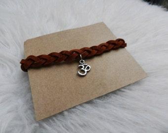 Suede Braided Bracelet with Om Charm