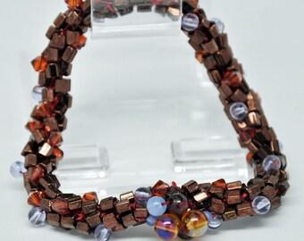 Bead Crochet Bracelet - Metallic Plum