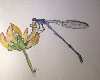Blue Dragonfly (Original Watercolor)