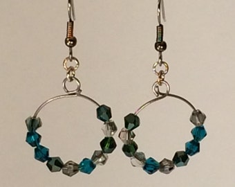 Earrings in Ocean Colored Glass Beads on Memory Wire