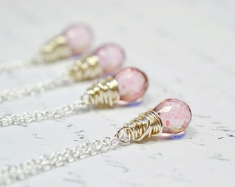 Tiny Pink Gemstone Necklace, Wire Wrapped Pink Mystic Quartz Simple Minimal Jewelry, Sterling Silver Chain, Teardrop Briolette Solitaire